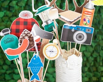 Camping Printable PHOTO BOOTH PROPS beards, antlers, fishing pole - Editable Text >> Instant Download | Paper and Cake