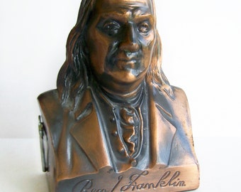Vintage Coin Penny Bank 1974 Banthrico Ben Franklin Bust WITH KEY ,First Federal Savings & Loan Hibbing Chisholm Metal Collectible