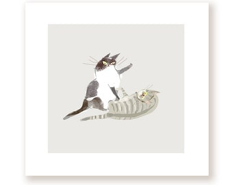 Cat Fight - Fine Art Print - Cat Artwork - Funny Cat Art