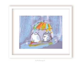 Rainy Day Friend - Cat Print - Gift for Cat Lover