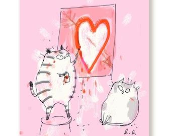 Cat Valentine Card - Big Heart Cat Card - Love Card - Valentine Card