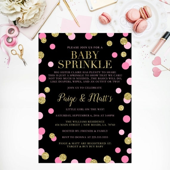 pink and gold glitter baby shower invitation confetti girl baby, Baby shower invitations