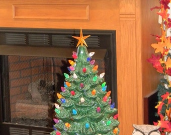 """Ceramic Lighted Old Fashioned Christmas Tree 20"""" tall      Ready to ship          Table Top Holiday Decoration"""