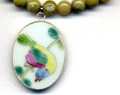 Blue Bird Necklace, Porcelain Pendant Necklace, Nature Necklace, Peridot Jade Necklace, Good Luck Bird Necklace by AnnaArt72