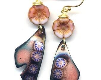 Pink Copper Earrings, Enamel Flower Earrings, Butterfly Wings Earrrings, 18 K Gold Filled Ear wire Earrings, Dusty Pink Gold Enamel Earrings