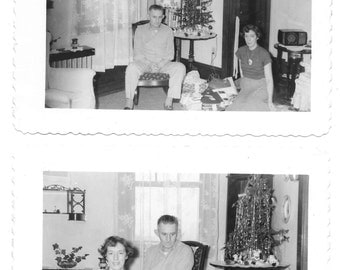 2 vintage Photo lot Christmas Tree Presents Home Interior Holiday Decor Man Woman 1950s snapshot