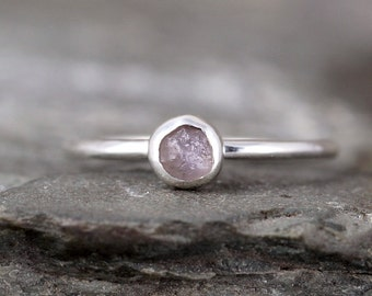 Montana Sapphire Ring - Raw Uncut Rough Natural Sapphire - Pink Color Gemstone - Rustic Rings - September Birthstone Ring - Stacking Rings
