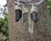 Raw crystal Stacking Bangles // Quartz crystal bangles bracelets //  Quartz point bangles //