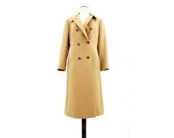 Vintage Camel Coat 1970s Camel Coat 70s Camel Wool Coat Military Style Coat, Boho Camel Coat Tan Wool Trench Double Breasted Coat m, l