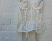 Vintage Corset Lady Marlene 1960s White Bustier  34 B