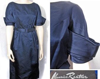 1950s Navy Blue Silk Satin Vintage Dress by Maurice Rentner