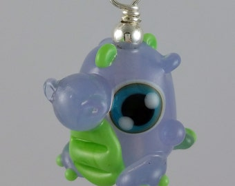 Daphne Dragon Crocus and Green Lampworked Glass Necklace and Cell Charm