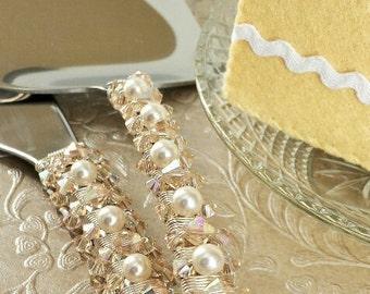 Champagne wedding cake cutting set, Swarovski crystal, custom wedding cake server set knife, shower, birthday party, cake cutter topper