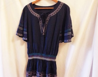 Vintage Blue Purple White Embroidered Batwing Sleeve Shirt Hippie Boho Top