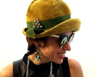 Vintage hat wool blend hat green hat unique hat