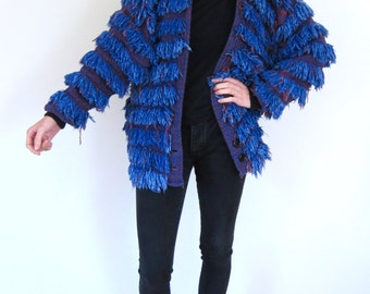 Gorgeous Blue Fringed 80's Coat