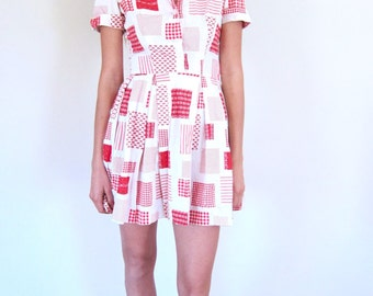 Red and White Checkered 70's Dress