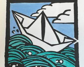 Paper Boat Block Print