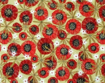 Red White Dark Gold Beige Poppy Poppies Flowers Floral Quilter's Weight Cotton Print Fabric - Yardage - By the Yard
