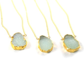 Raw Gemstone Necklace, Druzy Layering Necklace