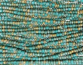 Tucson Turquoise Opaque Aged Picasso Mix Czech Glass 4mm Tile Beads and 6/0 Czech Glass Seed Beads - 20 Inch Strand (AW290)