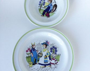 Vintage Arabia Finland Child's Plate/Bowl, Red Fox, Rabbits, Bunnies
