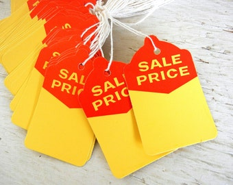50 Vintage Sale Price Tags | Unused NOS | Red Yellow