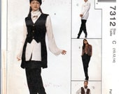 1990s Vintage Sewing Patterns - Tuxedo Look Vest - Rocker Chic Vest - Over Sized Shirt - Cuffed Pants - McCalls 7312 - 90s Fashion - Uncut