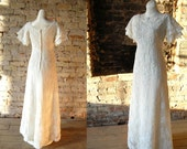 1960s Wedding Dress - Priscillas of Boston Dress - Alcenon Lace Bridal Gown - Country Wedding - Mid Century Wedding Dress- Xsmall