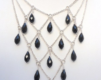 Jet Black Crystal Drop Harlequin Necklace on Shiny Silver Chain