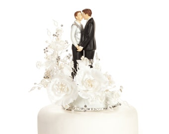 Crystal Romance Gay Wedding Cake Topper - Custom Painted Hair Color Available - 100956