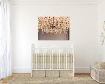 chandelier photograph crystal chandelier golden crystals sureal still life light fixture bedroom girl nursery large wall art crystal detail