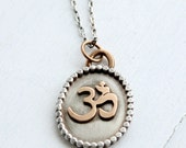 Ready to ship Oval Om Yoga pendant, bohochic pendant, gifts for her, Made by HapaGirls, ZenJewelry,
