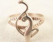Size 9 Vintage Sterling Elegant Abstract Rhinestone Eye Cat Ring