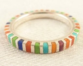 Size 6 Vintage Sterling Multi-Colored Shell, Stone, and Coral Inlay Thin Band Ring