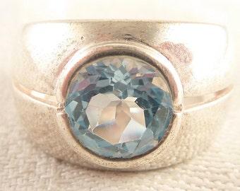 SALE --- Vintage Size 6 Milor Italian Sterling Wide Band Round Blue Topaz Ring