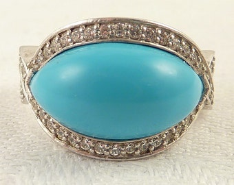 Size 7 Vintage Sterling Domed Synthetic Turquoise and Cubic Zirconia Ring