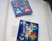 Two Vintage Tiles *  Creazioni Luciano Italy * Salerno Pottery * Ceramic Cloisonné * Colorful * Moorish-Arabic , Gifts , Art , Home Decor