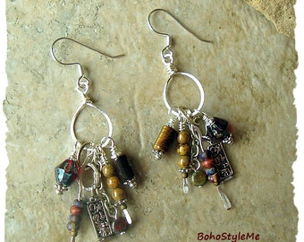 Boho Earrings, Rustic Tribal Gypsy Assemblage Earrings, Bohemian Jewelry, Artisan Jewelry, BohoStyleMe, Kaye Kraus