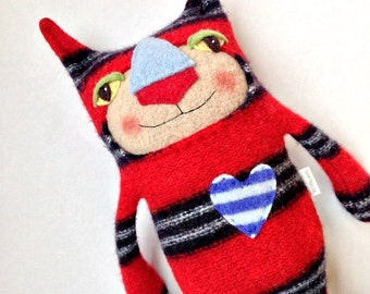 Red Striped Sweater Cat