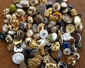 Goldtone Button Lot 100 Goldtone and Silvertone metalic plated plastic buttons