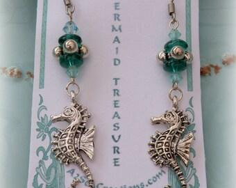 Seahorse Beaded Dangle Earrings