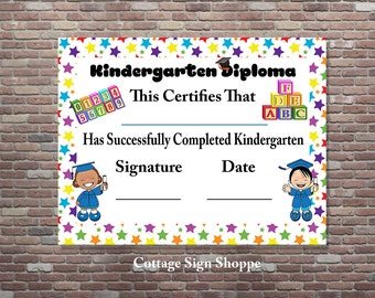 Kindergarten diploma teacher certificate kindergarten