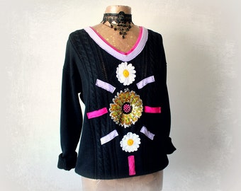 Black Art Sweater V-Neck Pullover Sequin Patch Daisy Flower Cableknit Sweater Upcycle Clothing Eco Chic Winter Top Boho Jumper M L 'CELESTE'