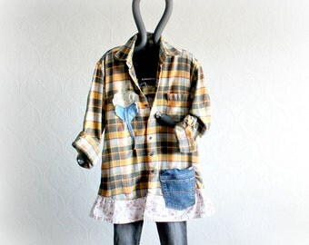 Plaid Flannel Shirt Grunge Style Women's Eco Clothing Upcycled Jeans Boho Chic Clothes Casual Top Worn in Shirt Open Front Layering Top M L