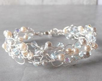 Beaded Bracelet Wire Crochet Pale Aqua Ivory and Grey Pearl Bracelet Silver Wire Bracelet Ice Blue Bridesmaid Jewelry Crocheted Wire Jewelry