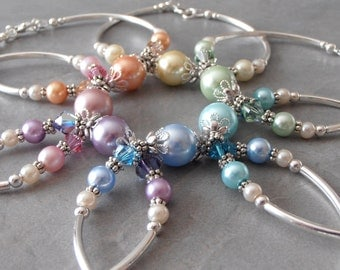 Bridesmaid Bracelets Spring Wedding Jewelry Delicate Pearl Bracelets Custom Colors Pastel Light Pink Lavender Blue Aqua Mint Yellow Peach