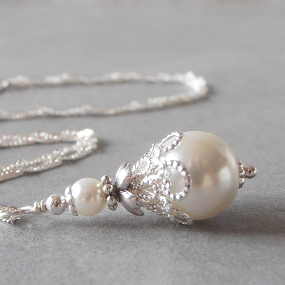 White Pearl Necklace Beaded Pendant White Bridal Jewelry Pearl