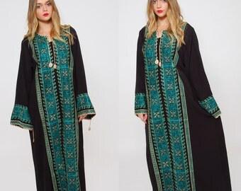 Vintage 80s ETHNIC Caftan EMBROIDERED Bedouin Dress Boho Maxi Dress Hippie Dress Middle Eastern Tribal Dress