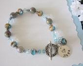 Grandma Bracelet Personalized, Light Blue, Bronze, Labradorite Gemstones, Silver Bracelet, Czech Glass,  Nana, Mom, Mother, Monogram Charm
